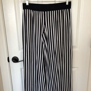 Navy and White stripe trousers. Pants.